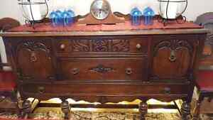 Beautiful Solid Walnut Antique Sideboard