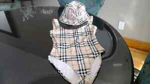 Authentic Burberry bathing suit and canvas hat