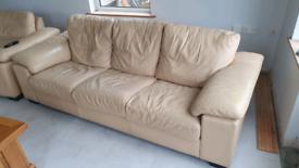 3 2 1 Cream Leather Sofa
