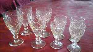 CRYSTAL SHERRY, CORDIAL, GLASSES - CROSS AND FAN, SET 8