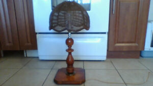 Lamp with Wicker n Leather Shade (Antique) $50 NICE