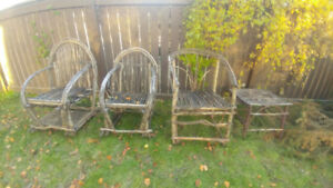 Decorative Wooden Stick Chairs & Side Table