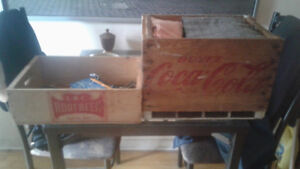 Vintage IBC root beer crate and Coke crate.