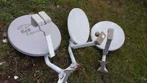 Satellite Dishs with arms, mounting brackets, LNB's