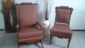 Pair of antique, carved Walnut EASTLAKE chairs