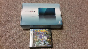 Blue Nintendo 3DS with Sonic Colors