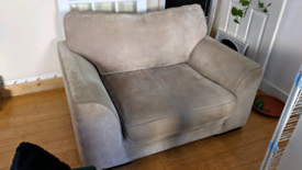 Fabric Love seat / wide arm chair - used