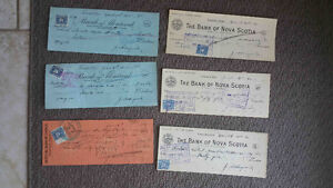CANADA 3 CENT EXCISE STAMPS ON ANTIQUE CHEQUES SUNOCO STN