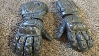 Motorcycle racing leather gloves with carbon fiber - size XL