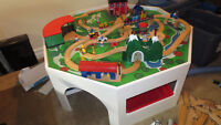 Children's Train Table, trains, track, buildings