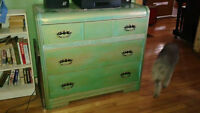 Custom painted dresser with matching bed