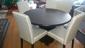 dining table and 4 fabric chairs