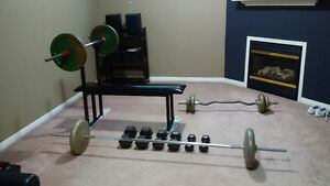 Bench press, bars and weights