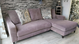 Grey corded dfs corner sofa. Please read description