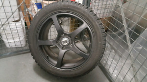 """Set of four 17"""" Winter Tires mounted on wheels"""