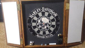 New Harley Davidson dartboard and cabinet with extras