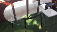 Ikea Glass Dining Table & 4 Folding Chairs