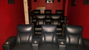 SET OF 8 LEATHER HOME THEATER SEATS MANUAL RECLINER SEATING AMAX