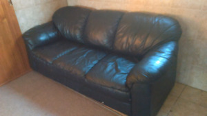 Black leather couch!