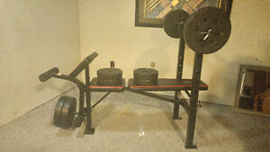 Work out bench with 100lbs weights
