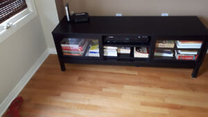 Black Tv Stand with glass windows