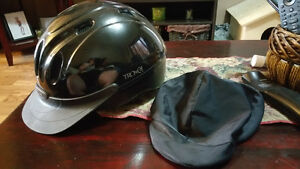 Horse riding helmet and rubber boots