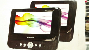 "Sylvania 9"" dual screen Portable DVD player."