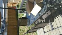 OBO 6 CHAIRS & GLASS TABLE PATIO FURNITURE