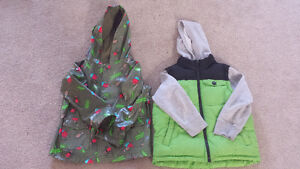 Boys insulated vest/sweater jacket and Raincoat