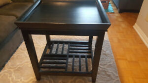 2 Wood End Tables - Black Brown colour