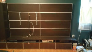 TV WALL UNIT with 4 drawer shelf