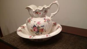 Floral Pitcher and Basin