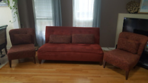 BOMBAY SOFA with 2 chairs - $300.00.00. In good condition