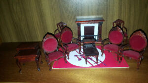 Victorian Style Wood and Velvet Doll Furniture