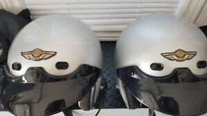 2 MATCHING HARLEY HELMETS WITH HEADSETS