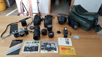 Asahi Pentax KM SLR Camera with 3 Lenses,1 Converter 2x and more
