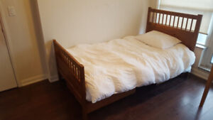 IKEA Wooden Twin Bed Frame (Solid Wood)