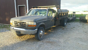 1995 Ford F-450 dump truck Pickup Truck and tandem trailer