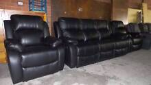 3 SEATER RECLINERS + 2 SINGLE RECLINERS IN BLACK LEATHER Thebarton West Torrens Area Preview