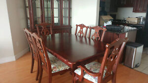 7 Piece Dining Table - Wood Cherry Finish