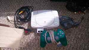 Ps1 with cables and controller