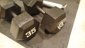 2x 35lb Hex Dumbells (Black)