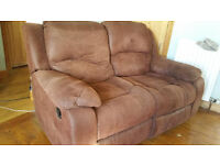 brown two seater reclining sofa - Free - Collection Tarves