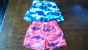 2 Pairs Baby Carter's Swim Shorts 12M