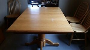 Solid Oak- Double Pedestal Table Chairs and Corner Cabinet