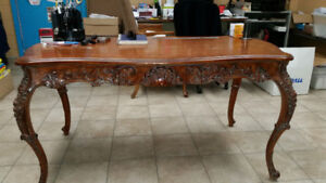 Antique Hardwood Oak Desk, with intricate molding