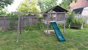 Kids Outdoor Playhouse with swings and slide