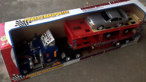 Toy transporter, sound, lights, with Mustang GT and F150 pickup