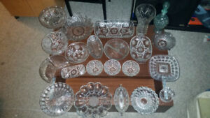 Crystal dishes set,Pinwheel, 23 assorted items.