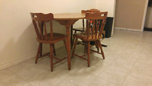4 chair wood kitchen dinning room table set